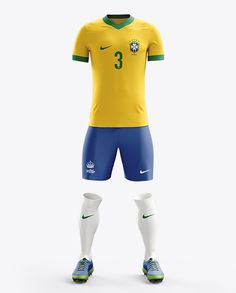 Football Kit With V-Neck T-Shirt Mockup / Front View. Preview