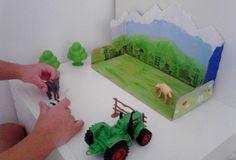 Countryside setting for children (with milk box) Escenario campestre de juegos (a partir de una caja de leche)