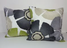 2 Green, Grey, Charcoal Robert Allen Pinwheel Petals Pillow Covers, Two Pure Petals Collection Throw Pillow Covers, Green, Cushion, 16 x 16 by pillows4fun on Etsy