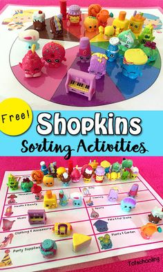 FREE printable Shopkins themed sorting activities for kids. Includes sorting by color, food groups, healthy vs treats and more. These adorable miniature grocery toys are perfect for learning activities.