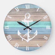 Blue & White Beach Wood Nautical Stripes & Anchor Large Clock by DesignsbyDonnaSiggy ad Beach Cottage Style, Coastal Style, Coastal Decor, Coastal Cottage, Coastal Homes, Nautical Style, Cozy Cottage, Beach Room Decor, Beach House Decor