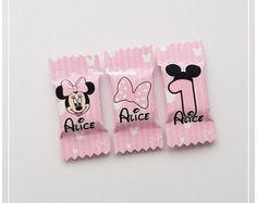 50 Balas Personalizadas Minnie Rosa Baby