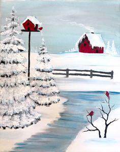 Thumbnail Image 1 Christmas Art, Christmas Canvas, Christmas Paintings, Beautiful Christmas, Painting Lessons, Painting Tips, Painting Techniques, Canvas Painting Tutorials, Winter Trees