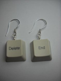 Recycled Keyboard End - Delete Earring