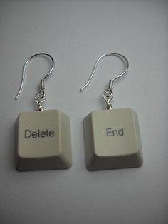 Recycled Keyboard End - Delete Earring