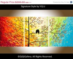 Birds art Original large Acrylic painting Abstract by QiQiGallery, $206.50