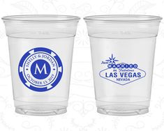 Las Vegas Wedding, Imprinted Soft Sided Cups, Just Married Wedding, Monogram Poker Chip, Las Vegas Sign, Clear Cups (54)