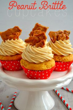 Peanut Brittle Cupcakes are a delightful treat that taste just like the sweet and crunchy candy!