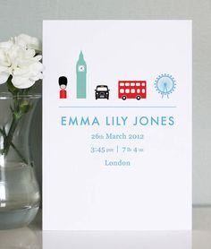 Announce the Birth of your new baby with these Stylish Announcement cards Personalised with your own choice of icon illustrations.  $79.56