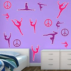 Restickable Gymnastics Silhouettes StickleMe Wall Decor - $55