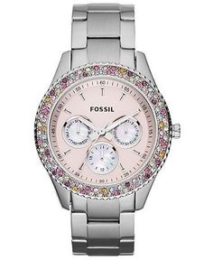 Fossil Watch, Women's Chronograph Stella Stainless Steel Bracelet 37mm ES3050