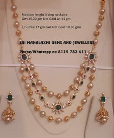 Looking for latest designs perfect finish than visit Sri Mahalaxmi Gems and Jewellers. Presenting here 3 Step medium length necklace with Emeralds n pure Pearls. Visit for best prices on full range. Contact no 8125 782 411 18 November 2018 Pearl Jewelry, Pendant Jewelry, Bridal Jewelry, Beaded Jewelry, Silver Jewelry, India Jewelry, Gold Pendant, Jewelry Shop, Silver Rings