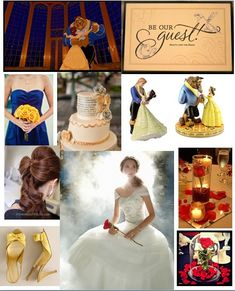 Beauty & the beast wedding inspiration b r guest invite, rose n water @ evey1 table & rose under glass on table:) click on pic 2 look @ it better.happly ever after!
