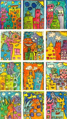 Rizzi-for-Kids    James Rizzi has left his mark on the world. His amazing illustrations has made an indelible impression on me and my students. Last Fall, my sixth graders did a unit on James Rizzi which included Faces and Simple Birds. This time we had fun with James Rizzi Inspired Skyscrapers. This is a super easy lesson for older students. 100% fun and successful.: