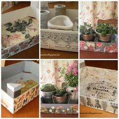 Cajas de la fruta recicladas y decoradas Crate Crafts, Diy And Crafts, Strawberry Box, Fruit Box, Wooden Crates, Covered Boxes, Creative Home, Wood Boxes, Diy Projects To Try