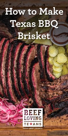 Learn how to smoke the perfect Texas-style brisket at home with this easy recipe. Beef Brisket Recipes, Bbq Brisket, Smoked Beef Brisket, Barbecue Recipes, Grilling Recipes, Texas Brisket, Beef Dishes, Food Dishes, Crockpot