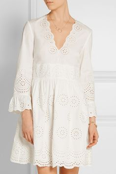 White broderie anglaise cotton Concealed hook and zip fastening at back 100% cotton; embroidery: 100% polyester Dry clean
