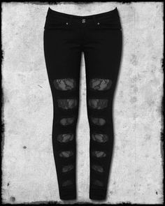 Criminal Damage Black Ripped Torn Rose Lace Womens Emo Scene Goth Skinny Jeans