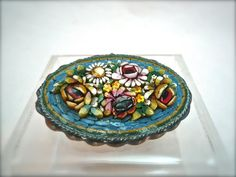 Antique Micro Mosaic Brooch Raised Relief Roses by nancyfance