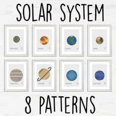 Eight planets - complete NASA space solar system Modern Cross Stitch Pattern instant PDF download by Stitchonomy on Etsy