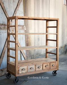 Gershwin & Gertie's Wooden Rolling Factory Shelves: Reclaimed Old Pine Wood