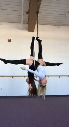 Love this partner pose on Lyra  aerial fitness partner Acro yoga aerial circus fun friends aerial yoga girl