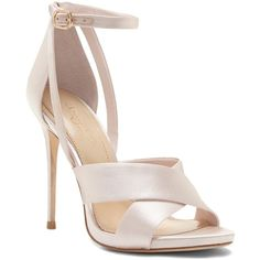 Imagine Vince Camuto Dairren Satin Heeled Sandal ($125) ❤ liked on Polyvore featuring shoes, sandals, satin shoes, high heeled footwear, bride shoes, leather sole sandals and high heel shoes