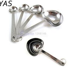 YAS Stainless Steel Heart Shaped Measuring Cups Measuring Spoon Kitchen Tools Measuring Set Tools For Baking Coffee Tea