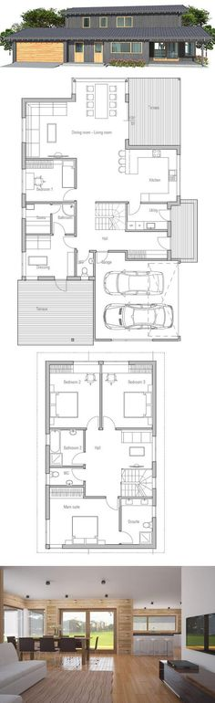 Modern Small House Plan with four bedrooms, two living areas, covered terrace, garage for two cars.