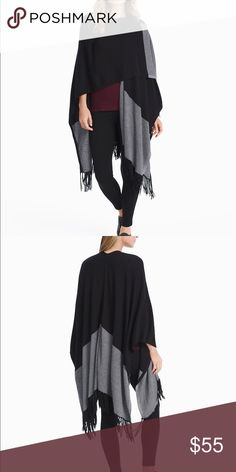 """WHBM Colorblock Ariana Shawl Wrap WHBM Colorblock Ariana Shawl Wrap is a soft cashmere blend that with a long sleeve tee and leggings gives off a luxuriously laid back look. Open front; black fringe along hem. Approximately 31 3/4"""" from shoulder to hem. Viscose/ nylon/ wool/ cashmere. Model is 5'9"""" wearing a XS. White House Black Market Sweaters Shrugs & Ponchos"""