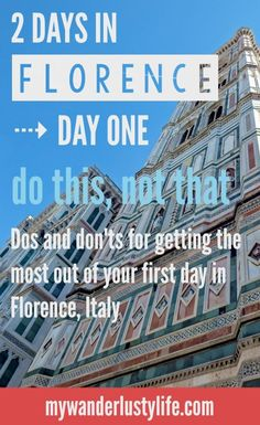 A helpful list of dos and don'ts for getting the most out of Florence, Italy when you only have two days. Day One is all about exploring the city, a little shopping, incredible views, and wine juice boxes. European Vacation, Italy Vacation, European Travel, Italy Trip, Italy Tours, Italy Honeymoon, One Day In Florence, Florence Italy, Florence Shopping