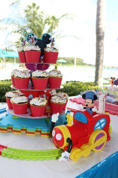 Mickey Train around cupcakes. Cute!