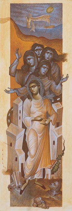 Greece ___by George Kordis . Byzantine Icons, Byzantine Art, Richard Burlet, Cool Art, Nice Art, Architecture Art Design, Religious Paintings, Orthodox Icons, Tempera