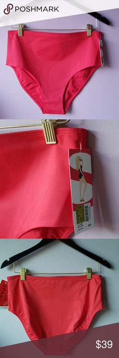 Spanx Mid Waist Bathing Suit Bottom NEW WITH TAGS AND NEVER WORN   SPANX Mid Waisted Bathing Suit Bottom Front Control panel  Fruit Punch Color  Style 2658  Pair Up with SPANX dresskini top under Seperate Listing, matches!  ✔BUNDLE UP FOR SAVINGS ✔ Spanx Swim Bikinis