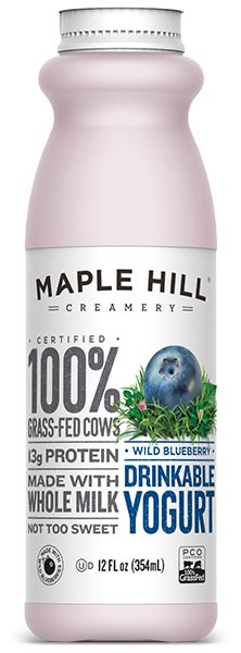 Maple Hill Creamery - 100% Grass-Fed Drinkable Wild Blueberry Yogurt. Made with whole milk, no fillers or artificial flavors.