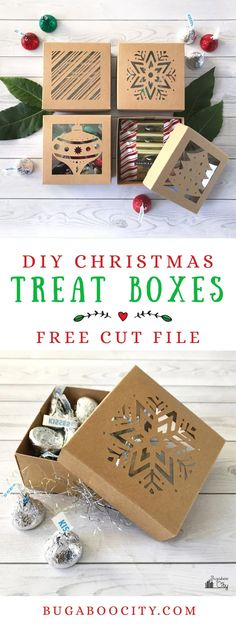 DIY Christmas Treat Boxes with Free Cut File These DIY Christmas Boxes are a the perfect holiday project for your cutting machine! Filled with sweet treats and tiny gifts these boxes make any gift extra special! 3d Christmas, Christmas Gift Wrapping, Diy Christmas Gifts, Christmas Treats, Cricut Projects Christmas, Brother Christmas Gifts, Christmas Gift Box Template, Diy Gift Box Template, Paper Box Template
