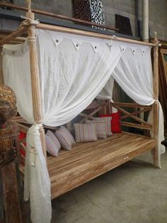 Bali Outdoor Furniture Hand Carved Teak Four Poster DAY BED Bench Seat Whitewash in Melbourne, VIC | eBay $1200 AUD.