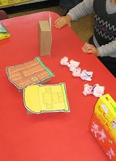 three pigs retell--houses on cereal boxes