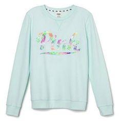 Victoria's Secret PINK Perfect Crew Sweatshirt Medium Aqua Tropical at... ($80) ❤ liked on Polyvore featuring tops, crew top, victoria secret tops, aqua top, green top and victoria's secret