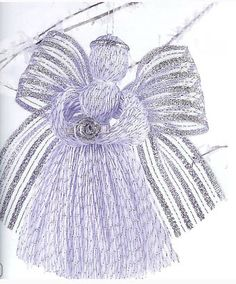 Angel Ornament This updated angel ornament, made by wrapping metallic crochet thread around a piece of cardboard, is a fun family project that even the youngest child will enjoy making. Angel Ornaments, Diy Christmas Ornaments, Christmas Angels, Christmas Projects, All Things Christmas, Holiday Crafts, Christmas Decorations, Merry Christmas, Diy Angels