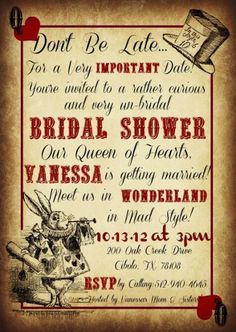 Alice in Wonderland bridal shower invitation - Weddingomania
