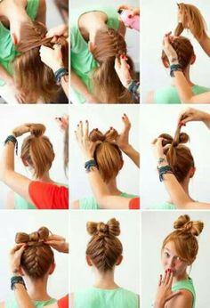 Diy easy braided hair bow hairstyle
