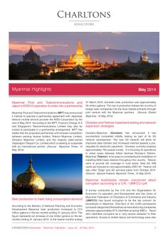 Myanmar Highlights - 20 May 2014 - Myanmar Post and Telecommunications and Japan's KDDI Corporation to enter into a partnership