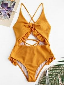 2020 Women Swimsuits Bikini Small Swimsuits Flutter Sleeve One Piece Swimsuit Pink Knickers Pants Swimwear Cut Out Swimsuits, Cute Swimsuits, Cute Bikinis, Women Swimsuits, Summer Bathing Suits, Cute Bathing Suits, Summer Suits, Orange Swimsuit, Ruffle Swimsuit