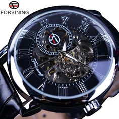 Forsining 3D Literal Design Roman Number Black Dial Designer Luxury Brand Watch  #FORSINING #FashionCasual