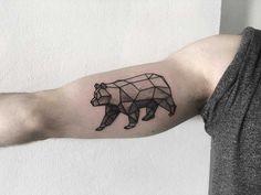 Geometric bear by tattooist Spence tattoo inked on the right arm Geometric Tattoo Animal, Animal Tattoos, Picture Tattoos, Cool Tattoos, Tattoo Friends, Tattoo Ideas, Tattoo Designs, Animals Beautiful, Tatting