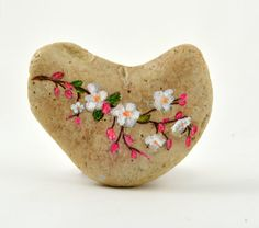 Hand painted stone. Home decor. Painted rock art. Unique gift. Cherry Blossom painting. Stone Art Painting, Rock Painting Designs, Pebble Painting, Pebble Art, Paint Designs, Stone Crafts, Rock Crafts, Caillou Roche, Art Rupestre