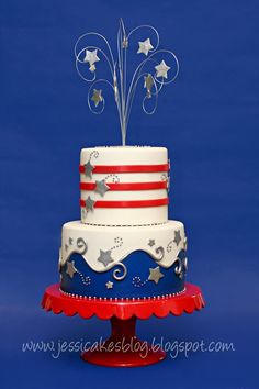 We are loving these of July cakes, cookies, cupcakes, cake pops and treats. These creative cakes are star-. Pretty Cakes, Beautiful Cakes, Amazing Cakes, Fourth Of July Cakes, 4th Of July Party, July 4th, Cupcakes, Cupcake Cakes, Shoe Cakes