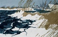 """Schilf am Wasser/Reeds at the Water"" by Oscar Droege (1898-1983) Farbholzschnitt auf Papier/woodcut  #art #woodblock"