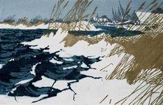 """""""Schilf am Wasser/Reeds at the Water"""" by Oscar Droege (1898-1983) Farbholzschnitt auf Papier/woodcut  #art #woodblock"""